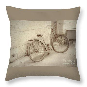 Rusty Bicycle Throw Pillow