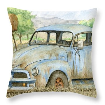 Rusty Blue Chevy Throw Pillow