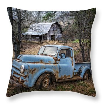 Throw Pillow featuring the photograph Rusty Blue Dodge by Debra and Dave Vanderlaan
