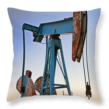 Rusty Blue Sunset Throw Pillow