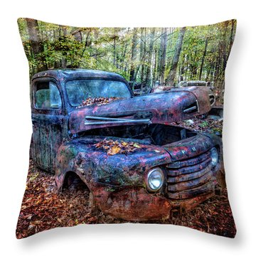 Throw Pillow featuring the photograph Rusty Blue Vintage Ford  Truck by Debra and Dave Vanderlaan