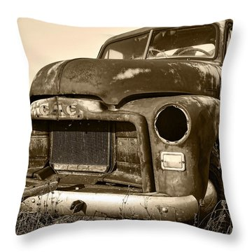 Rusty But Trusty Old Gmc Pickup Throw Pillow