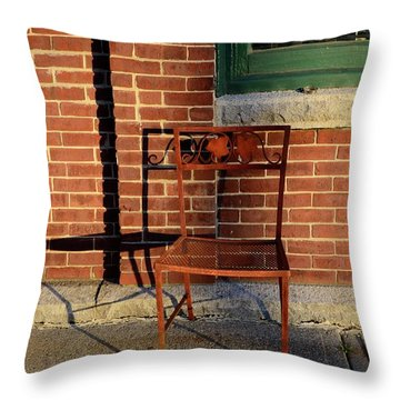 Throw Pillow featuring the photograph Rusty Chair At Sunset by Corinne Rhode