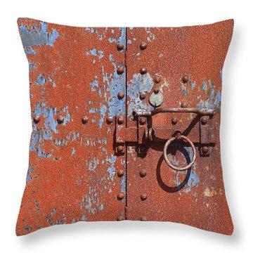Rusty Door Throw Pillow