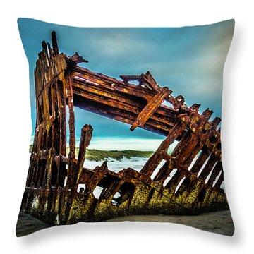 Rusty Forgotten Shipwreck Throw Pillow