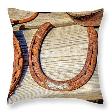 Rusty Horseshoes Found By Curators Of The Ghost Town Of St. Elmo Throw Pillow by Peter Ciro