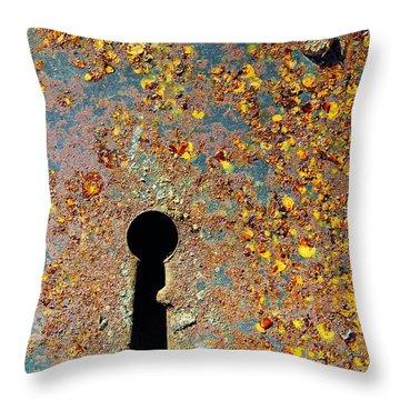 Rusty Key-hole Throw Pillow by Carlos Caetano