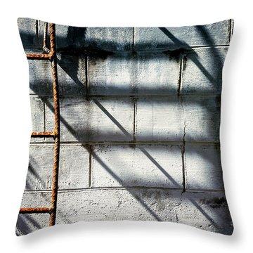 Rusty Ladder On Blue Industrial Art Throw Pillow