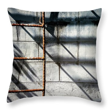 Rusty Ladder On Blue Industrial Art Square Throw Pillow