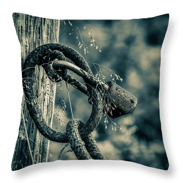 Rusty Lock And Chain Throw Pillow by Ken Morris
