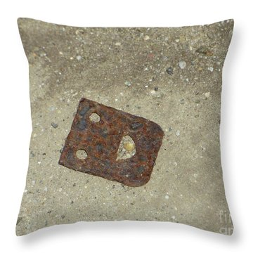 Rusty Metal Hinge Smiley Throw Pillow