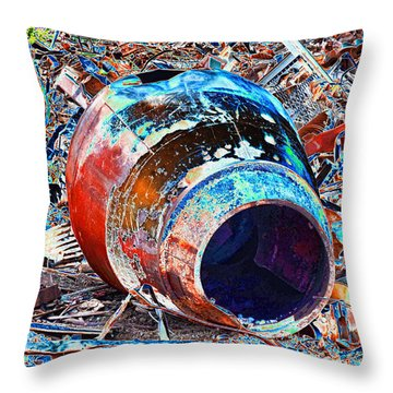 Rusty Metal Stuff II Throw Pillow by Debbie Portwood