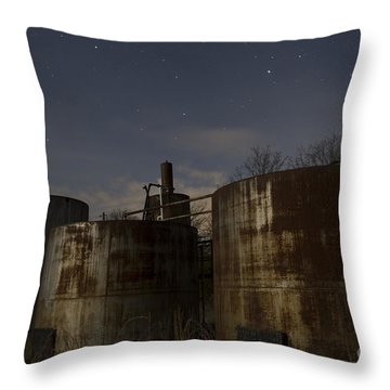 Rusty Oil Field Tanks Throw Pillow