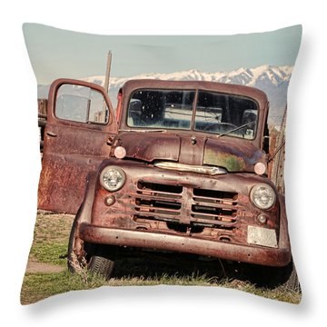 Throw Pillow featuring the photograph Rusty Old Dodge by Ely Arsha