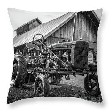 Throw Pillow featuring the photograph Rusty Old Farmall Tractor Stowe Vermont by Edward Fielding