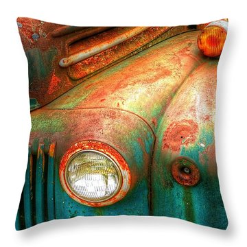 Rusty Old Ford Throw Pillow by Randy Pollard
