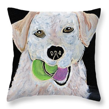 Throw Pillow featuring the painting Rusty On Canvas by Janice Rae Pariza