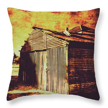 Rusty Outback Australia Shed Throw Pillow