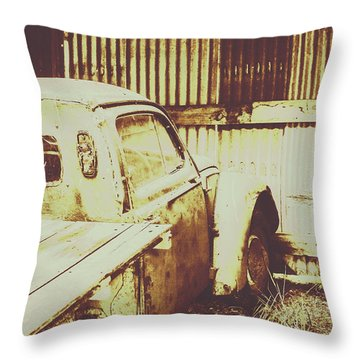 Rusty Pickup Garage Throw Pillow