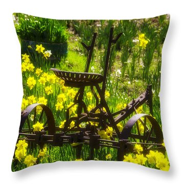 Rusty Plow In Daffodils  Throw Pillow