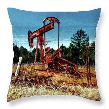 Rusty Pump Jack Throw Pillow