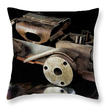 Throw Pillow featuring the photograph Rusty Rat Rod Toy by Wilma Birdwell