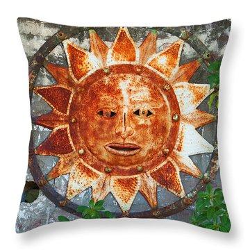 Rusty Sun Throw Pillow