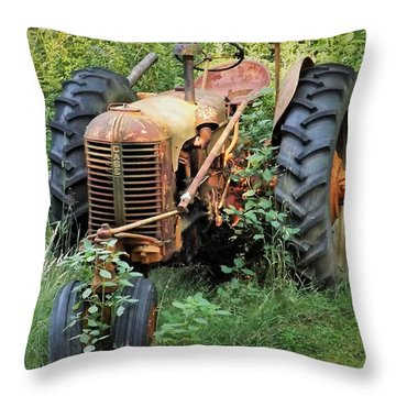 Rusty Tractor 3  Throw Pillow by Joyce Wasser