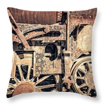 Rusty Train Wheels Throw Pillow