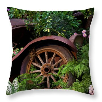 Rusty Truck In The Garden Throw Pillow by Garry Gay