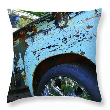 Rusty Truck With Shiny Rims Throw Pillow