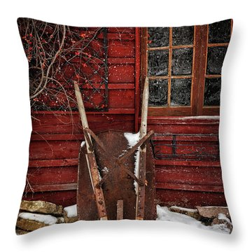 Rusty Wheelbarrow Leaning Against Barn In Winter Throw Pillow