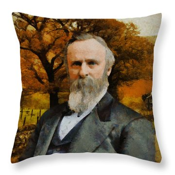 Rutherford B. Hayes Throw Pillow by Kai Saarto