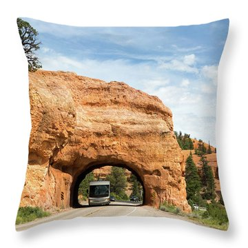 Rv Red Canyon Tunnel Utah Throw Pillow