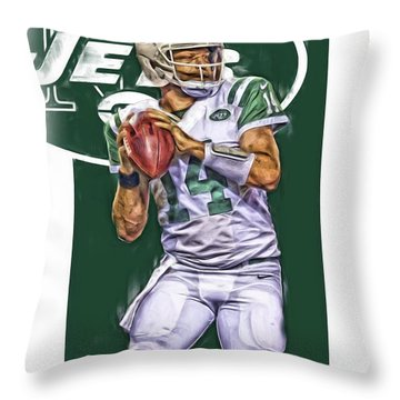 Ryan Fitzpatrick New York Jets Oil Art Throw Pillow