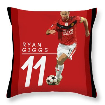 Ryan Giggs Throw Pillow by Semih Yurdabak