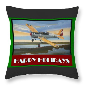 Throw Pillow featuring the digital art Ryan Pt-22 Happy Holidays by Stuart Swartz