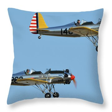 Ryan Pt-22 N48777 146 And Pt-22 N48742 269 Chino California April 29 2016 Throw Pillow by Brian Lockett