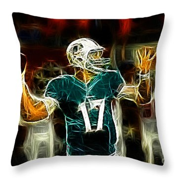 Ryan Tannehill - Miami Dolphin Quarterback Throw Pillow by Paul Ward