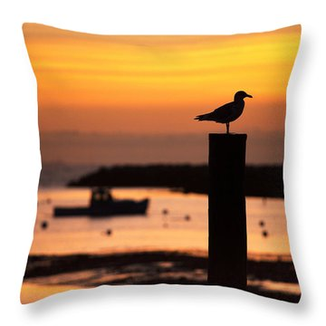 Rye Harbor Sunrise Throw Pillow