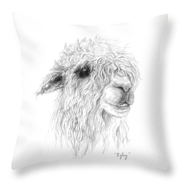 Throw Pillow featuring the drawing Ryley by K Llamas