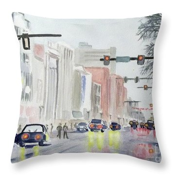 Throw Pillow featuring the painting S. Main Street In Ann Arbor Michigan by Yoshiko Mishina