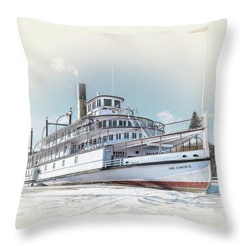 Throw Pillow featuring the photograph S. S. Sicamous II by John Poon