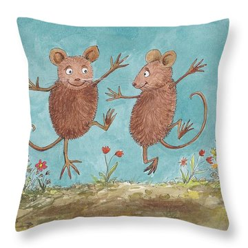 S1  Dancing Mice Throw Pillow by Charles Cater