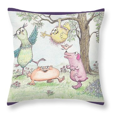 S3 Birthday Friends Throw Pillow by Charles Cater