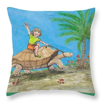 S7 Tortoise Ride Throw Pillow by Charles Cater