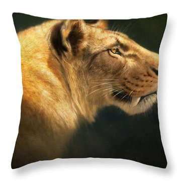 Sabertooth- Homotherium Crenatidens Throw Pillow by Aaron Blaise