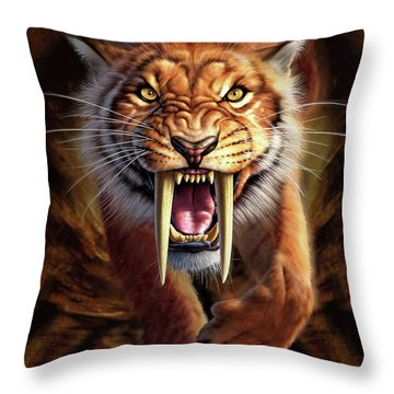 Sabertooth Throw Pillow by Jerry LoFaro