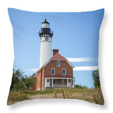 Sable Point Lighthouse Throw Pillow