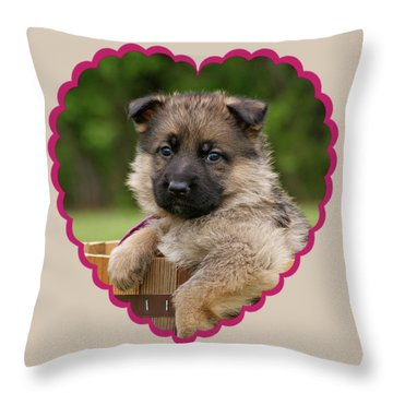 Sable Puppy In Heart Throw Pillow by Sandy Keeton